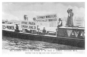 Flora Drummond and a group of suffragettes on a steam launch opposite the terrace of the House of Commons.
