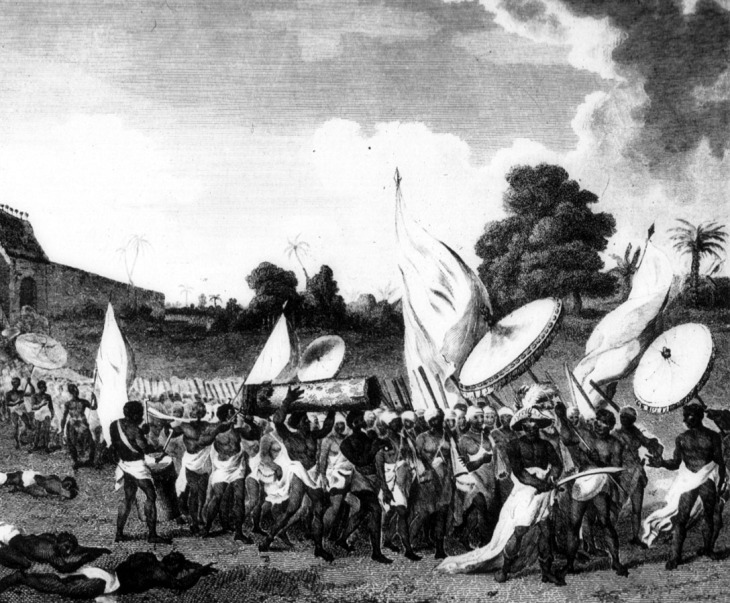 Dahomey women going to war with king at head